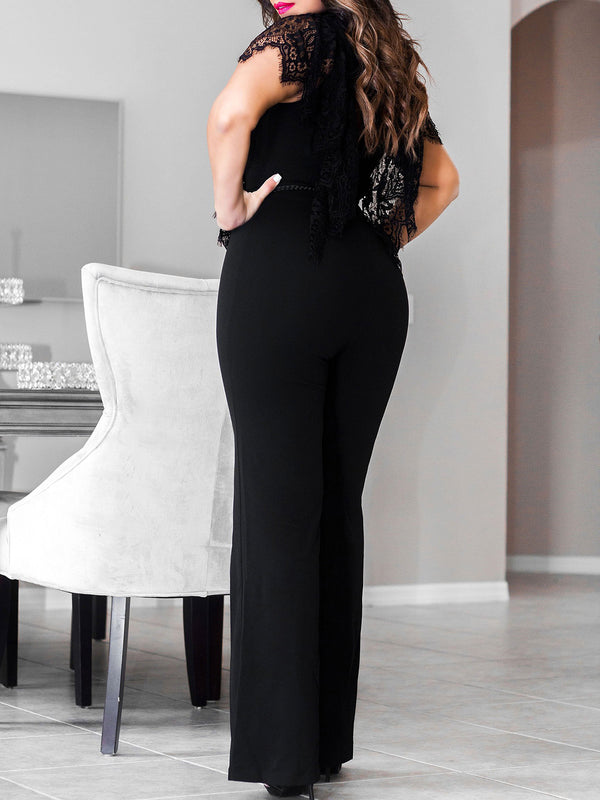 Mesh Paneled Sexy Solid Jumpsuits