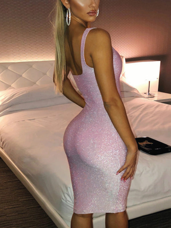Pink Sexy Square Neck Dresses