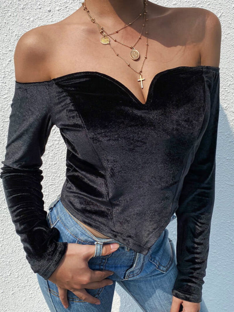 Black Sweetheart Long Sleeve Shirts & Tops
