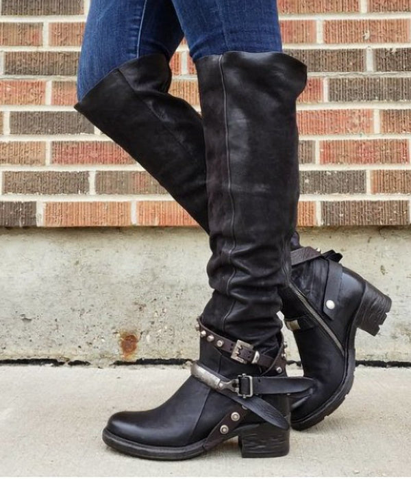 Western Rivet Buckle Low Heel Boots