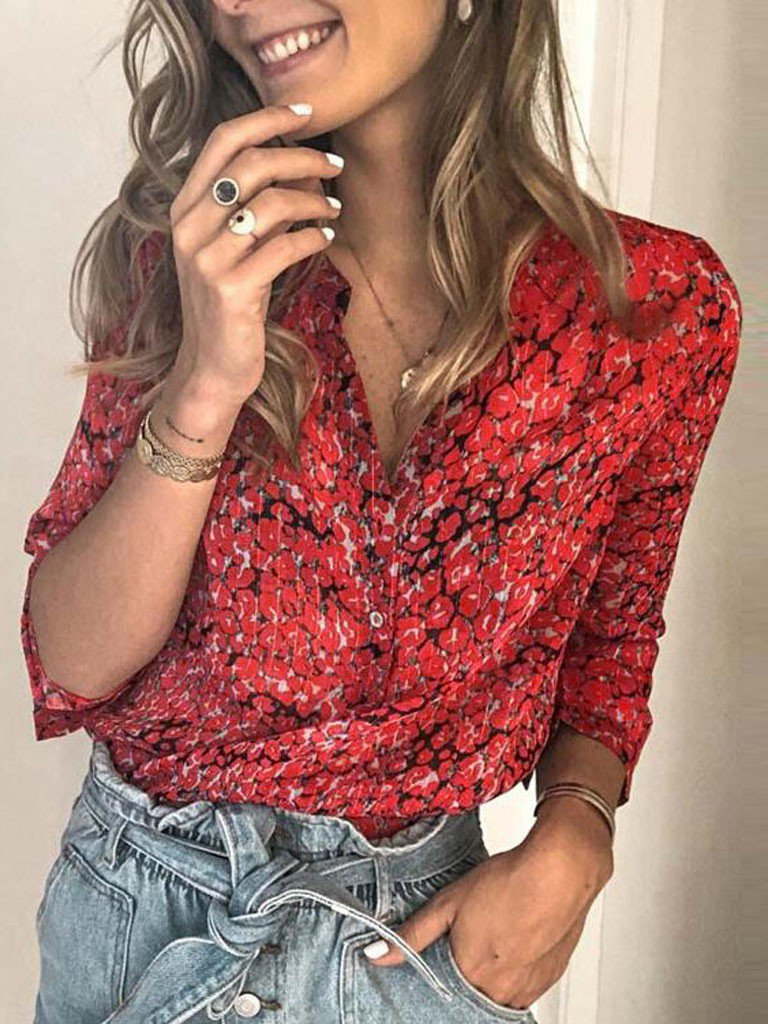 Red V Neck Shift Long Sleeve Shirts & Tops