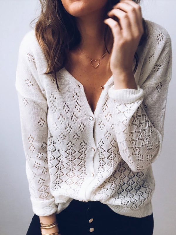 Casual Knitted Long Sleeve Scoop Neckline Sweater