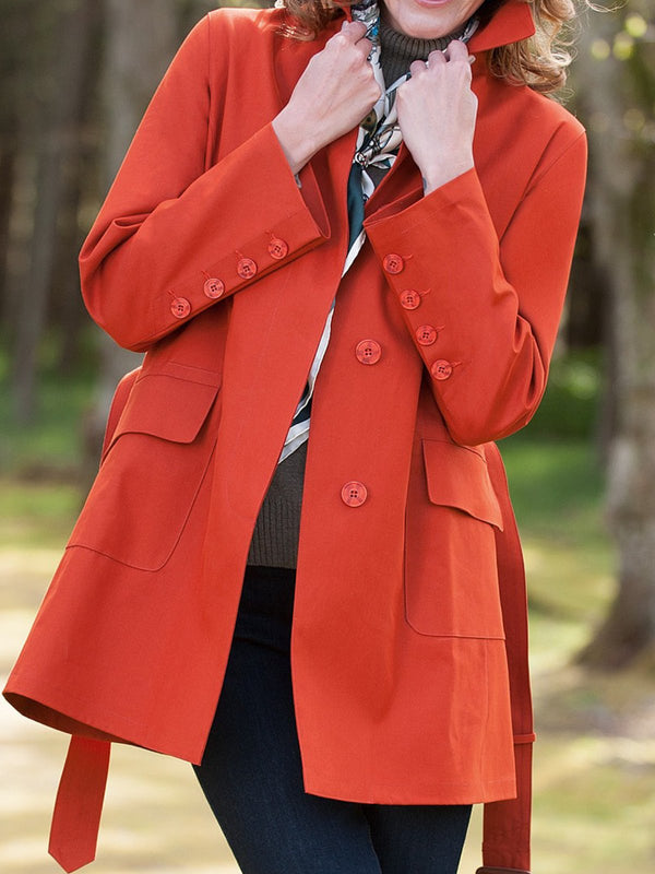Orange V Neck Buttoned Long Sleeve Outerwear