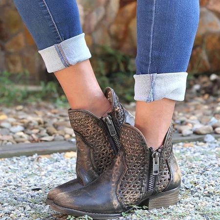 Women Cowboy Zipper Hollow-out Ankle Boots