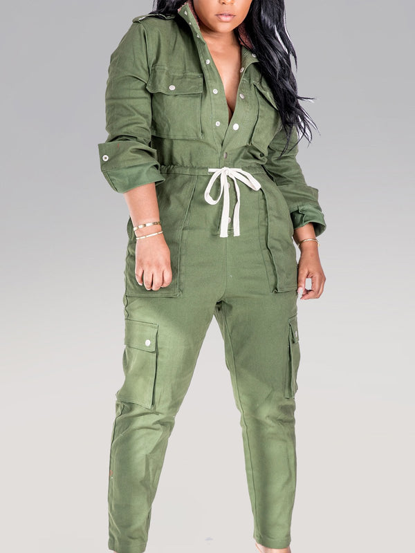 Long Sleeve Cotton-Blend Solid Lace-Up Jumpsuits