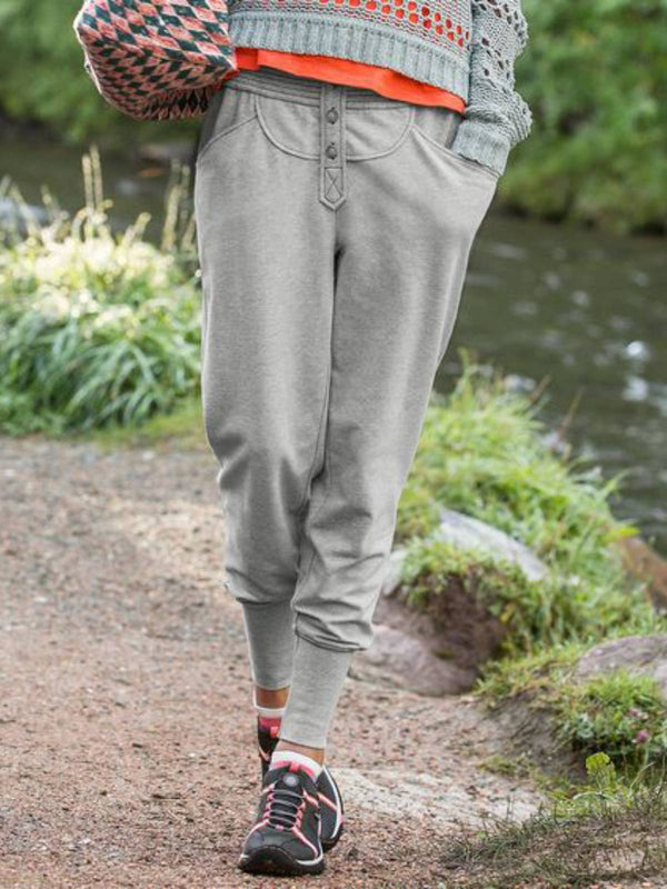 Gray Cotton-Blend Casual Pants
