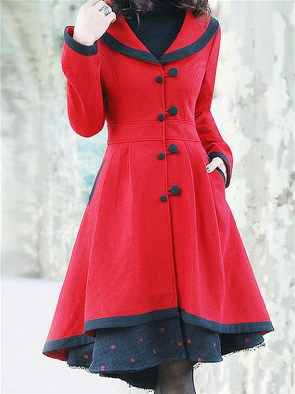 Casual Basic Daily Vintage British Style Coat
