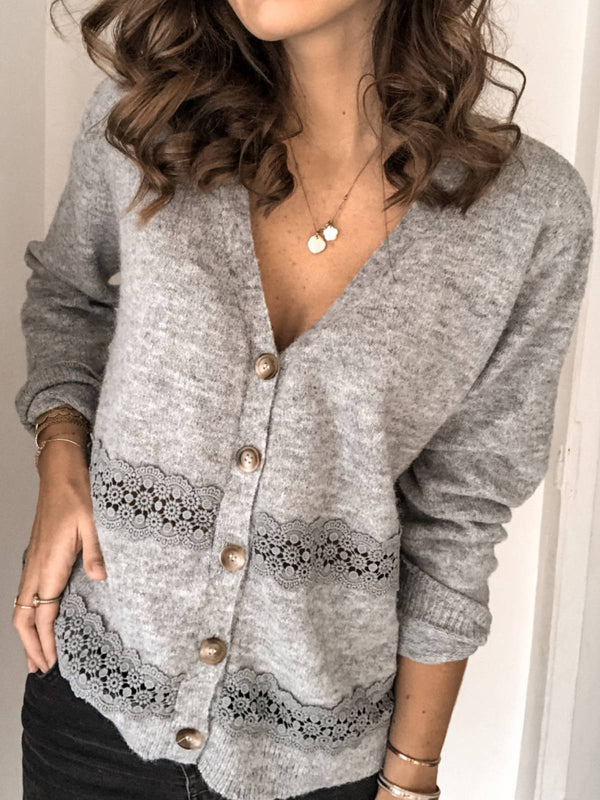 Grey Acrylic Long Sleeve Plus Size Outerwear