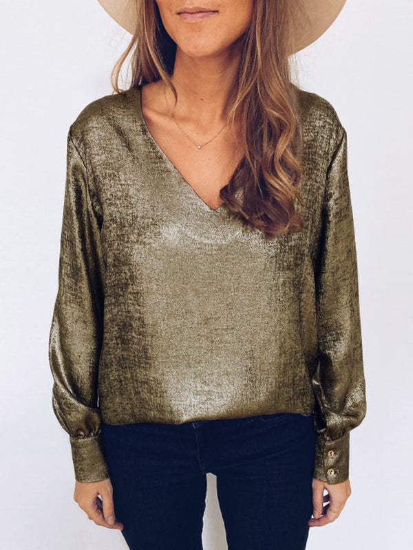 Golden V Neck Casual Shirts & Tops