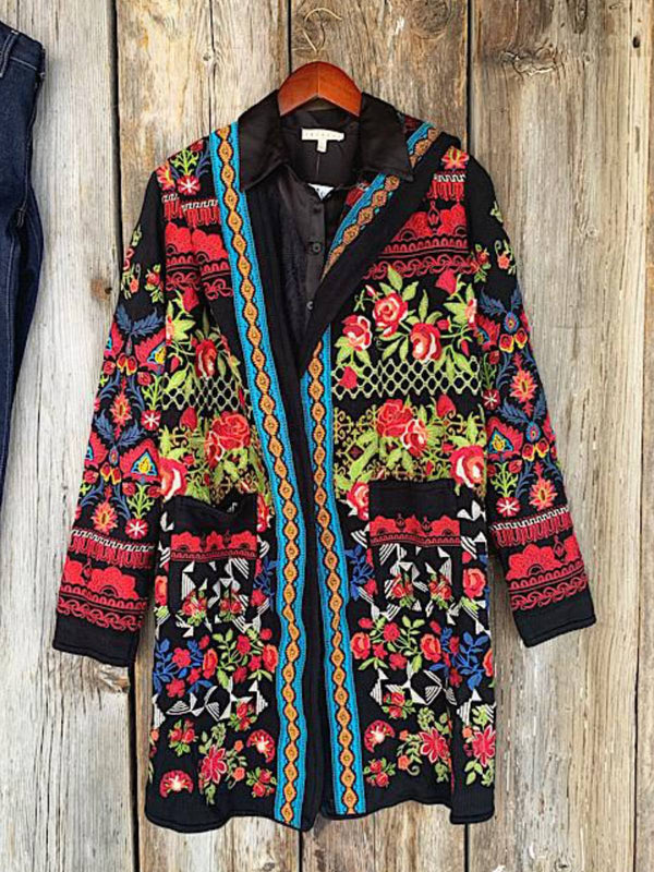 Red Printed Floral Casual Plus Size Outerwear