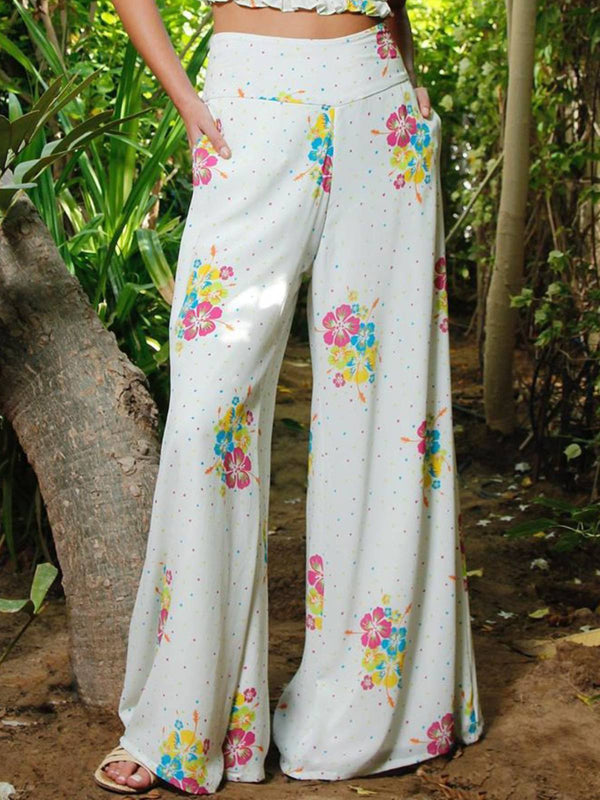 White Boho Floral Printed Plus Size Wide Leg Pants