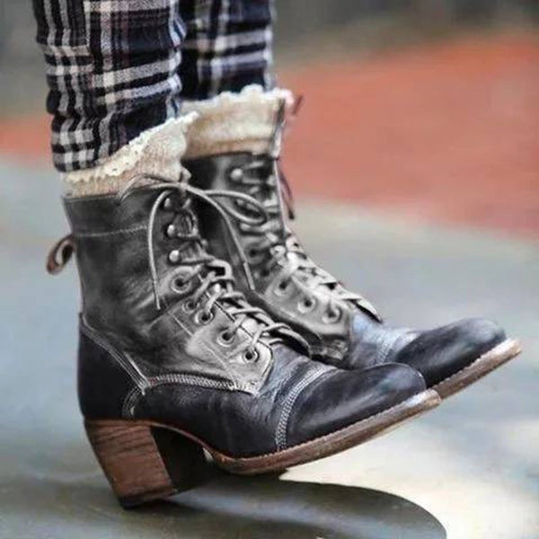 Women Side Zipper Middle Heel Fashion Boots