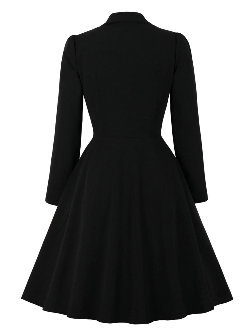 Plus Size Vintage Long Sleeve A-Line Dresses
