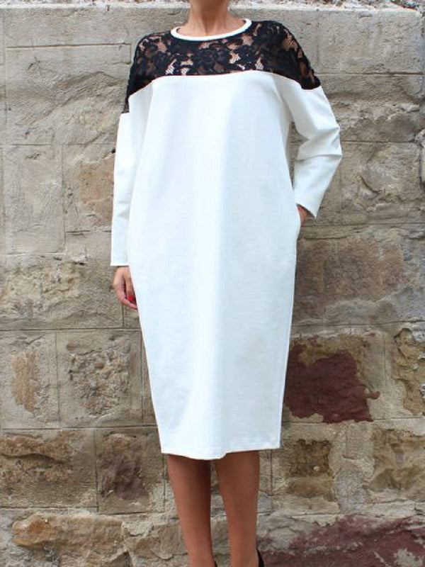 White Paneled Crew Neck Casual Dresses