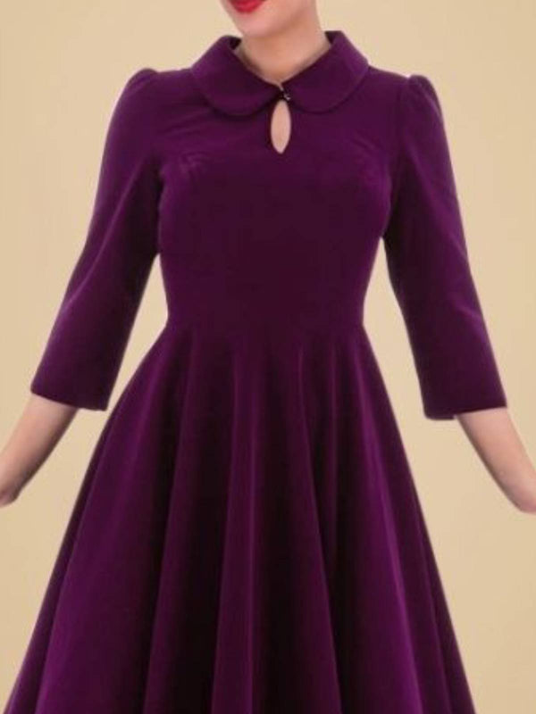 Purple Solid Cutout 3/4 Sleeve A-Line Dresses