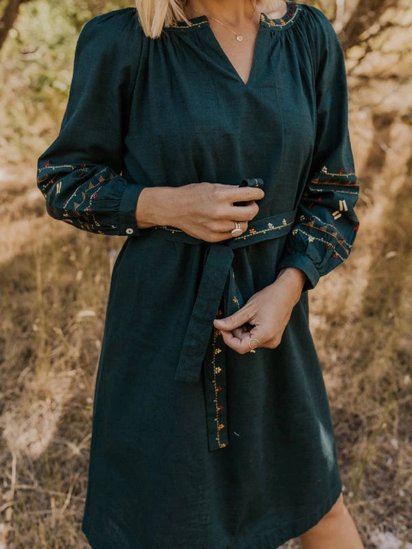 Black Embroidery Cotton-Blend V Neck Long Sleeve Dresses