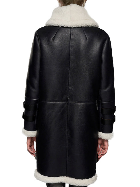 Black Wool Lapel Holiday Outerwear
