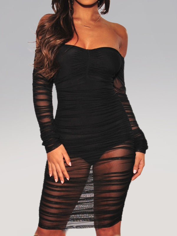 Solid Long Sleeve Mesh Sexy Dresses
