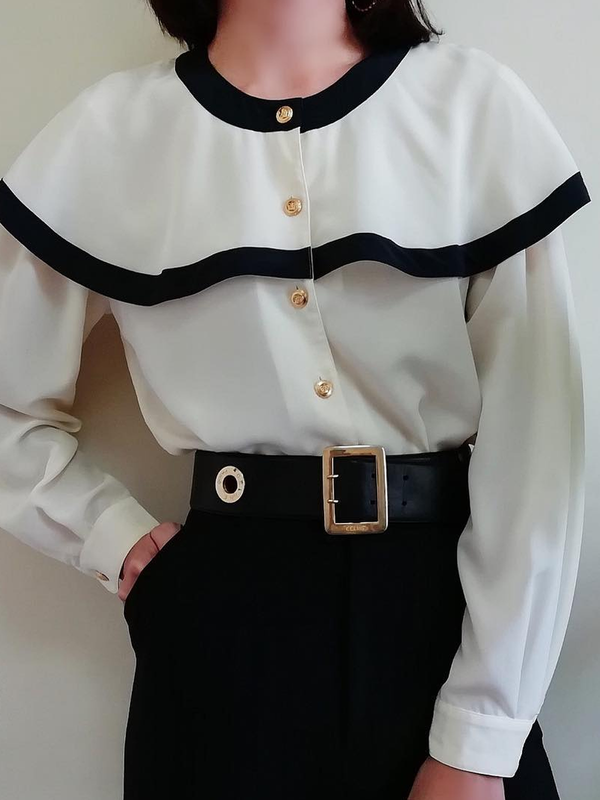 White Vintage Crew Neck Paneled Plain Shirts & Tops