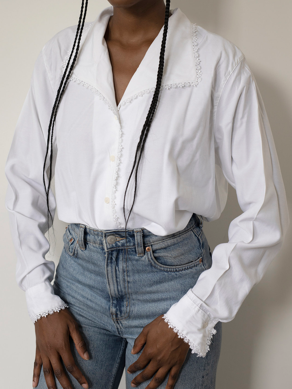 White Vintage Paneled Cotton-Blend Shawl Collar Shirts & Tops