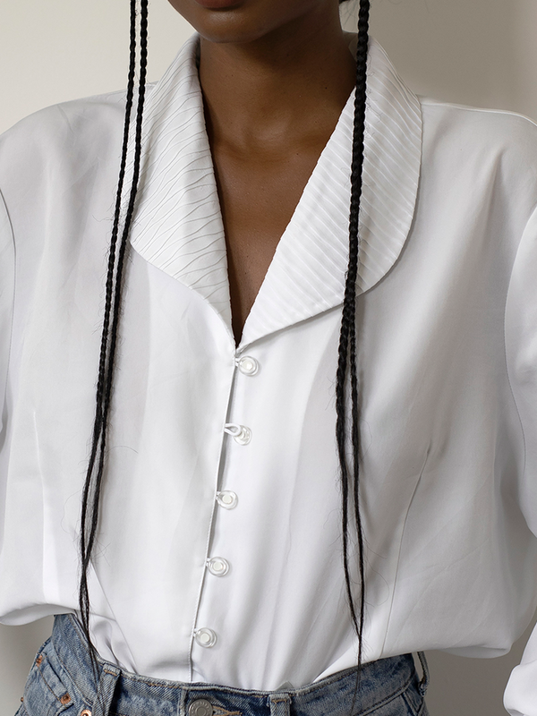 White Long Sleeve Paneled Shirts & Tops