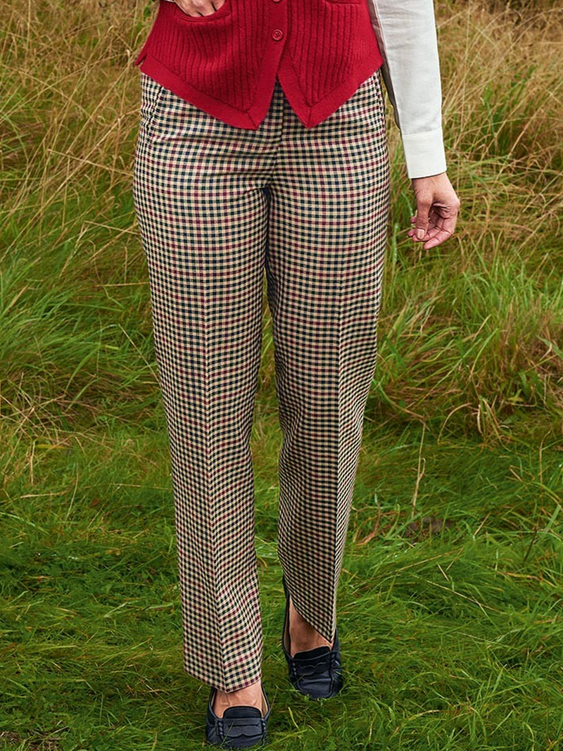 Checkered/Plaid Casual Cotton-Blend Pants