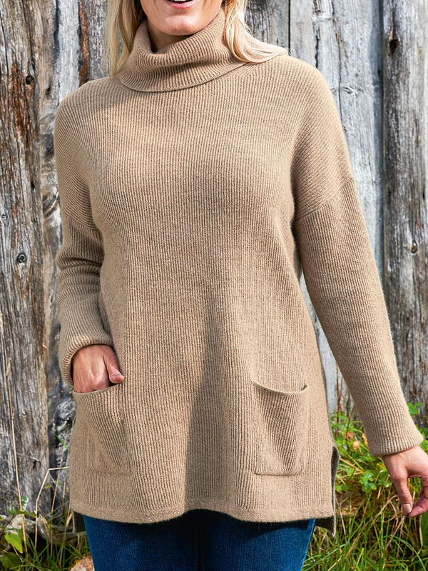 Cowl Neck Cotton-Blend Solid Casual Sweater
