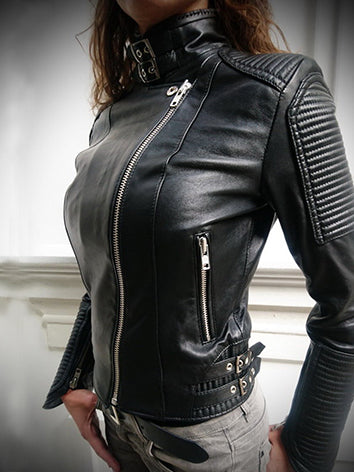 Black Statement Leather Sheath Outerwear
