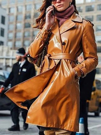 Brown Faux Leather Plain Lapel Statement Outerwear With Belt