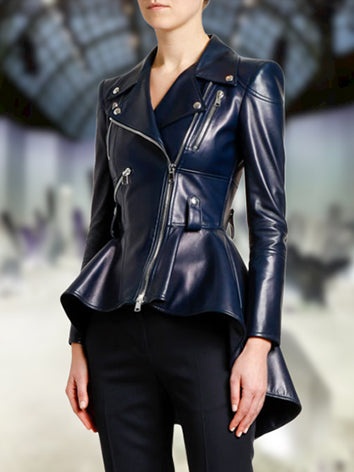 Deep Blue Leather Elegant Outerwear