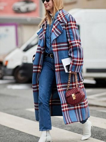 Blue Long Sleeve Checkered/plaid Shift Lapel Outerwear