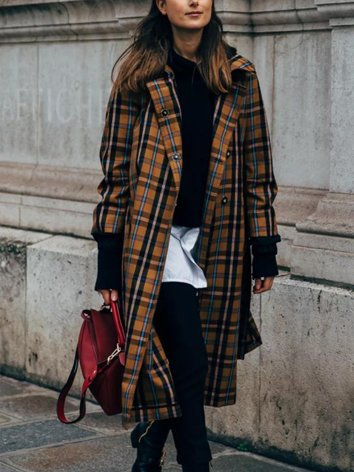Brown Checkered/plaid Long Sleeve Shift Lapel Outerwear
