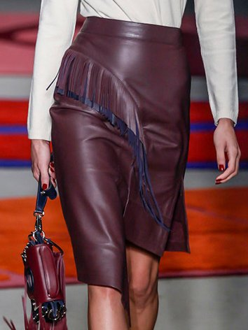 Purple Leather Vintage Asymmetrical Fringed Skirts