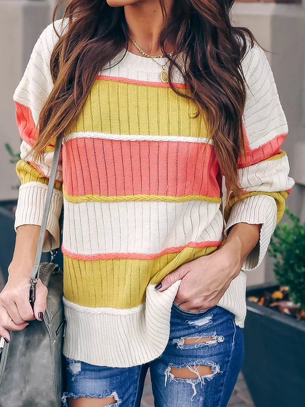 Color-block Crew Neck Casual Sweater