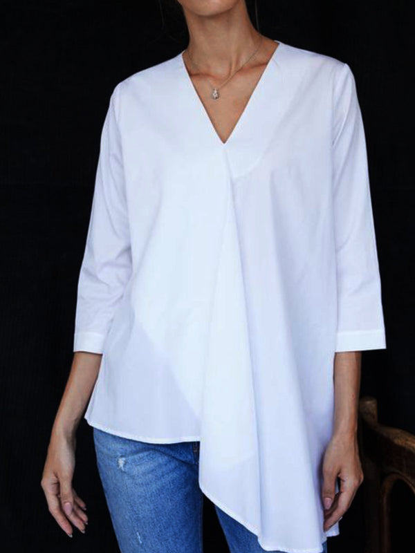 Casual Plus Size 3/4 Sleeve V Neck Blouse Shirts