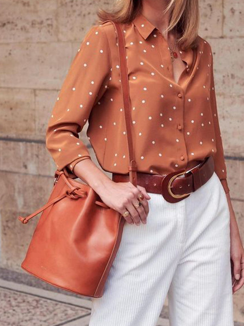 Orange-Grey Polka Dots Vintage Shirts & Tops
