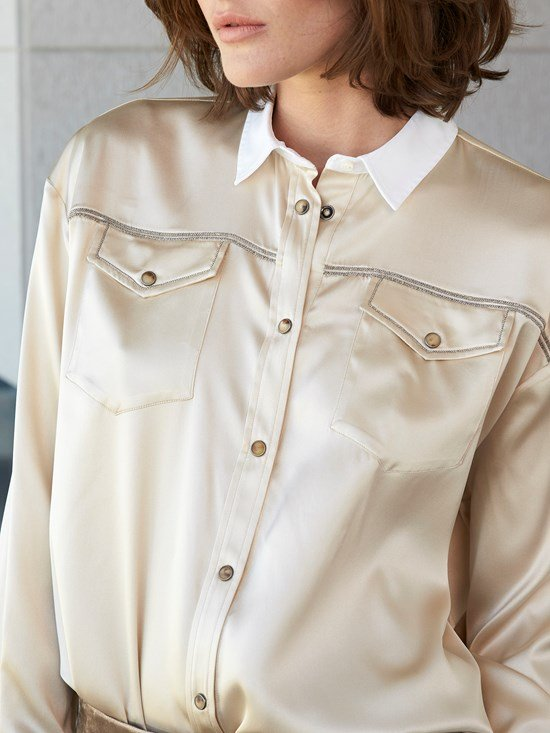 Solid Shirt Collar Long Sleeve Shirts & Tops