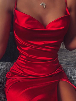 Red Plain Sexy Sheath Dresses
