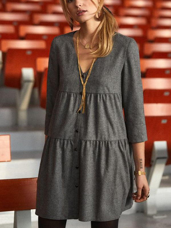 Women Gray V Neck A-Line Casual Dresses