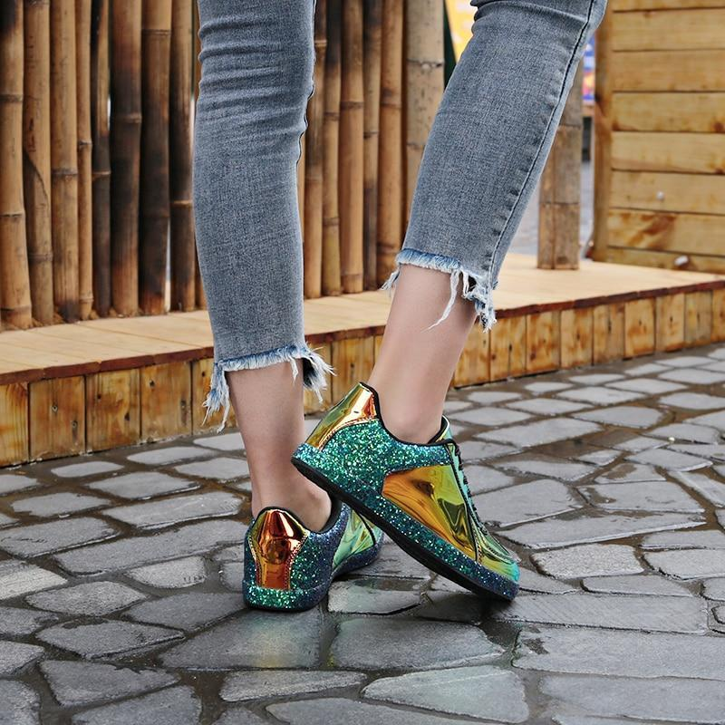 Sparking Glitter Sequin Lace-up Sneakers Daily Casual Shoes