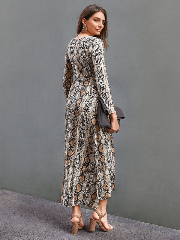 Women Snakeskin Sheath V Neck Long Sleeve Printed Dresses