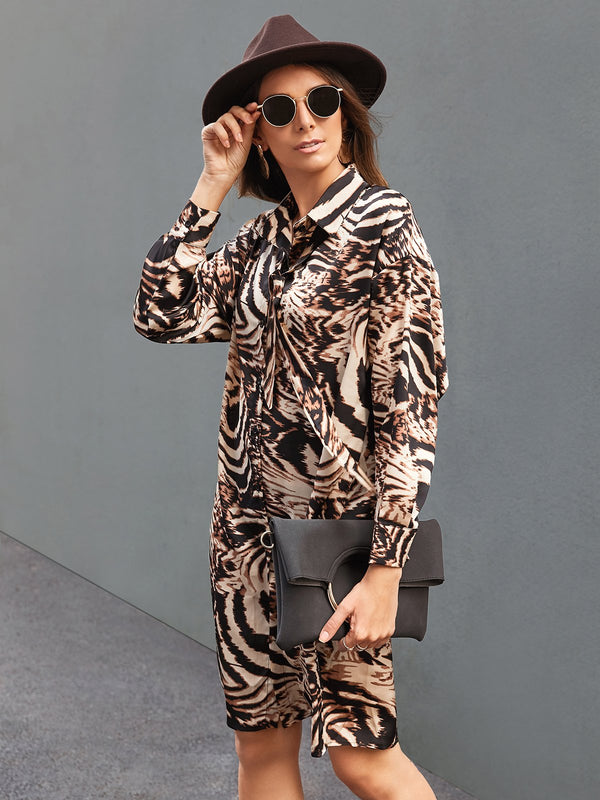 Women Leopard Statement Long Sleeve Chiffon Shirts & Tops With Belt