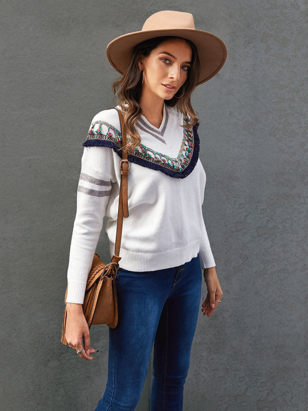 Women Tribal Long Sleeve Casual Appliqued Sweater