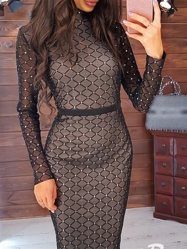 Black Sheath Crew Neck Long Sleeve Dresses