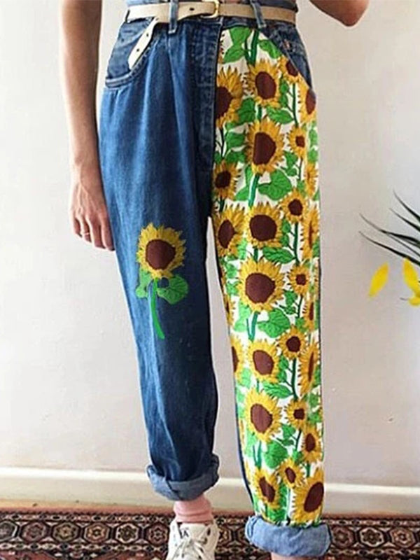Plus Size Statement Floral-printed Casual Denim Pants