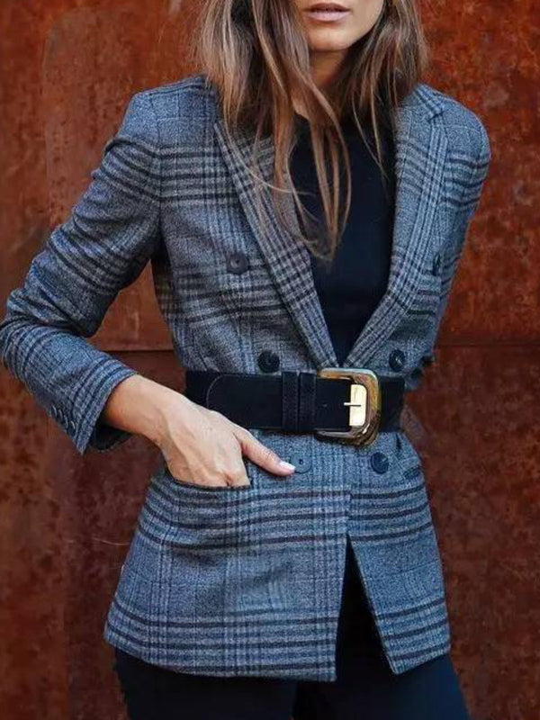 Blue Checkered/plaid Long Sleeve Pockets Cotton-Blend Outerwear