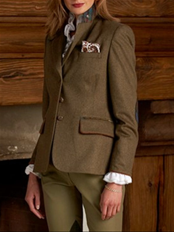 Coffee Long Sleeve Cotton Lapel Outerwear