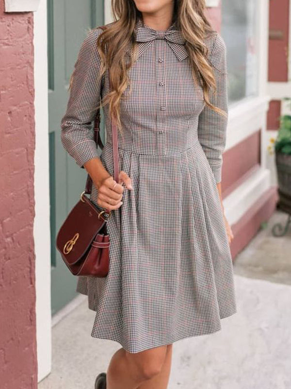 Light Gray Long Sleeve A-Line Cotton Checkered/plaid Dresses