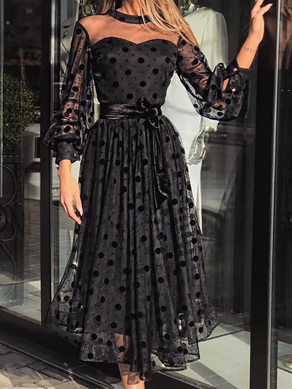 Black Long Sleeve Sexy Crew Neck Polka Dots Dresses
