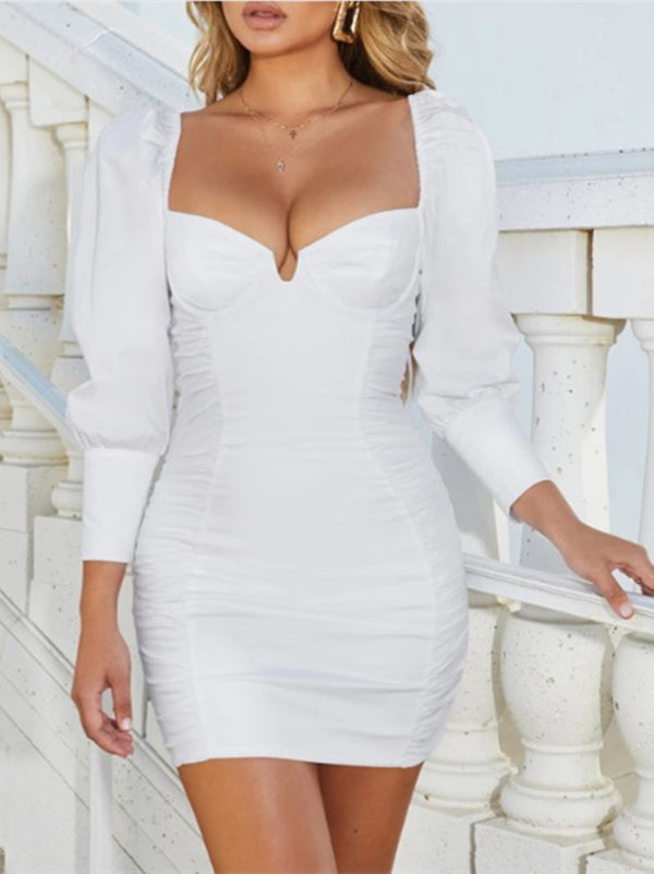 Bodycon Balloon Sleeve Sexy Gathered Dresses